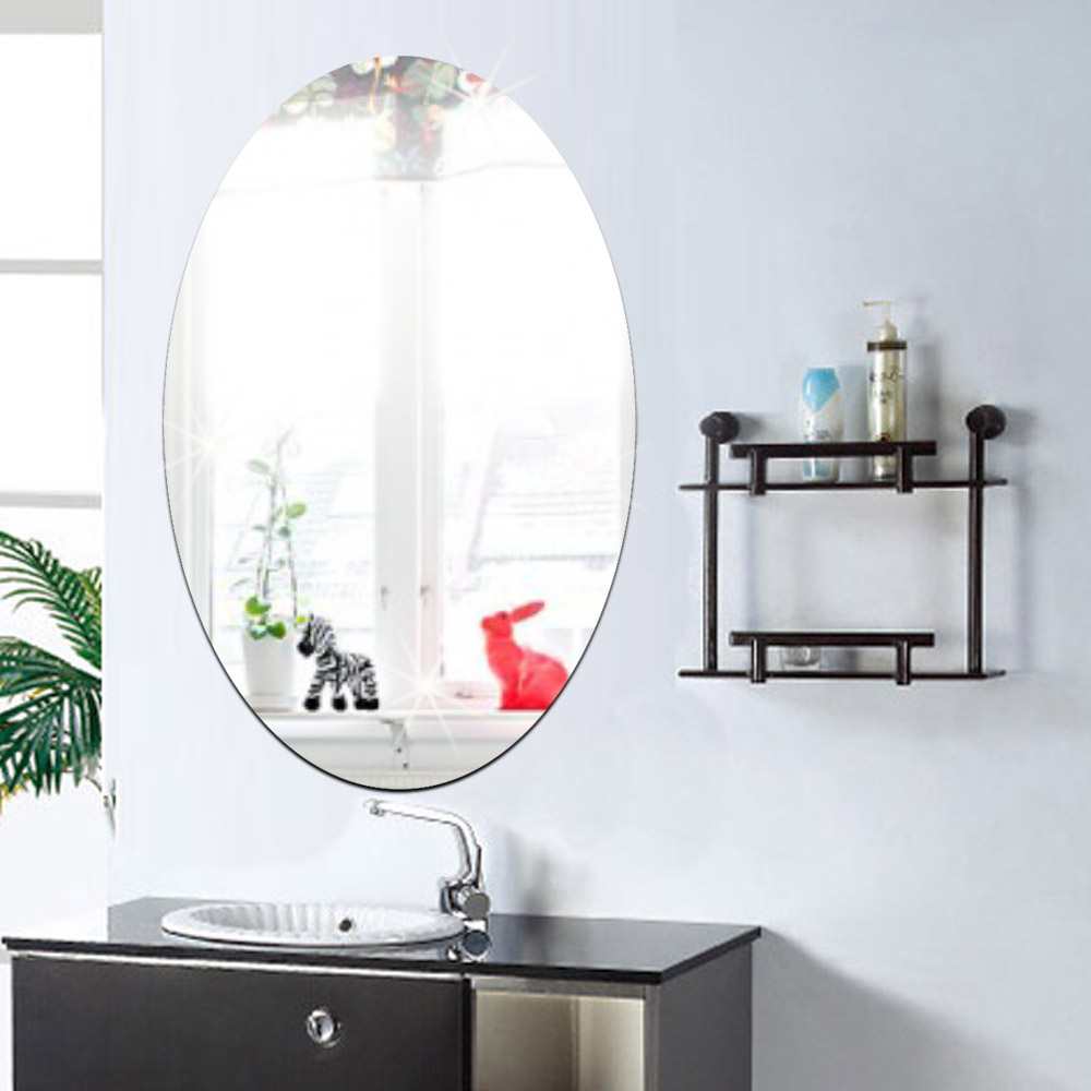 Funlife Plain Oval Design Reflective 3D Decal Mirror Wall Sticker For Bathroom Dressing Room Home Decoration MS361270(China (Mainland))
