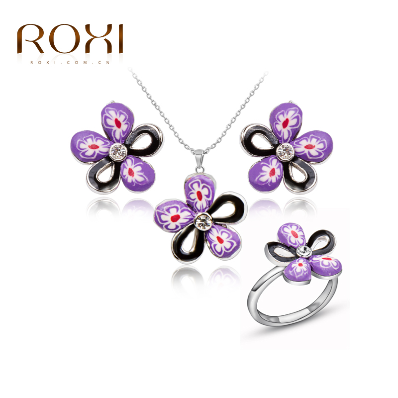 ROXI TOP Quality Trendy Baby Girl Flower porcelain 100% man made Jewelry sets, Polymer Clay German technology Jewelry sets(China (Mainland))