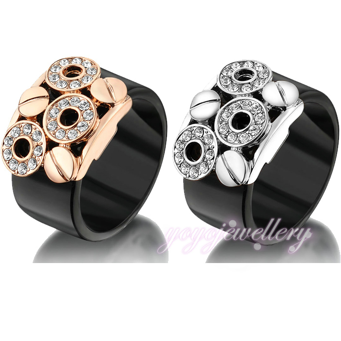 Fashion Black ring Acrylic and Crystal invisible Setting 18K yellow and white gold female ring R177 R1778<br><br>Aliexpress