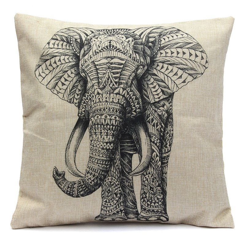 Best Promotion Elephant Soft Waist Pillow Case Cotton Linen Vintage Home Living Room Coffee House(China (Mainland))