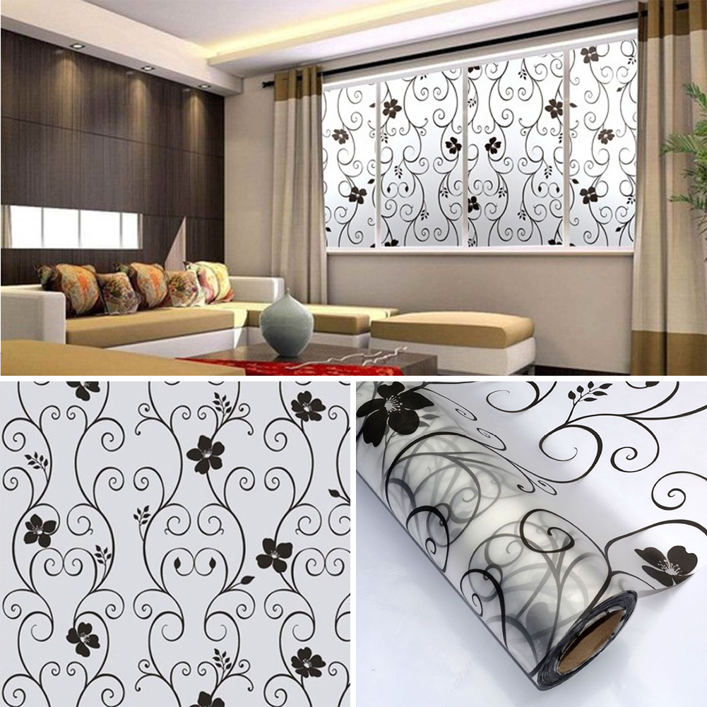Decorative Floral Glass Shower Door Cover Glass Window Door Black Flower Sticker Film Adhesive Home Decor