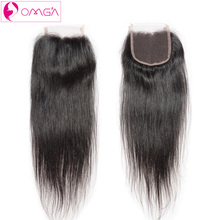 OMGA Peruvian Virgin Hair Straight Weave Lace Closure Free Middle Three Part 4*4 Unprocessed Human Hair Extensions Lace Closure