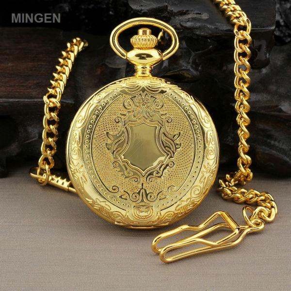 MINGEN - Men Retro Dress Gold Silver Shield Round Case Quartz Pocket Watch + Chain(China (Mainland))