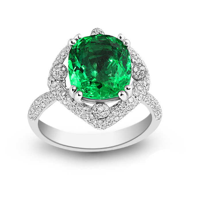 Qi Xuan_Fine Jewelry_Elegant Emerald Stones Rings_S925 Sliver Plated 18KPG Gold Rings_Manufacturer Directly Sales(China (Mainland))