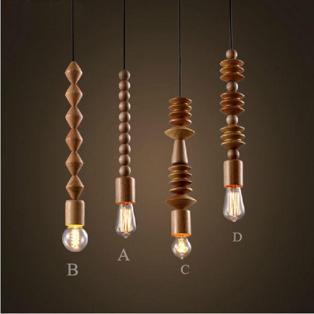 Vintage Loft Handmade Solid Wood Necklace Pendant Light Oak Bar Wooden Parts String Pendant Lamp Home Decorative Fixture Lights(China (Mainland))