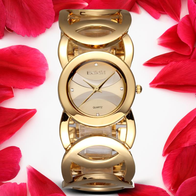 WEIQIN Brand Magic New Fashion Lady Gold Watches Women Full Stainless Steel Quartz Wristwatches Relojes Mujer Relogio Feminino(Hong Kong)