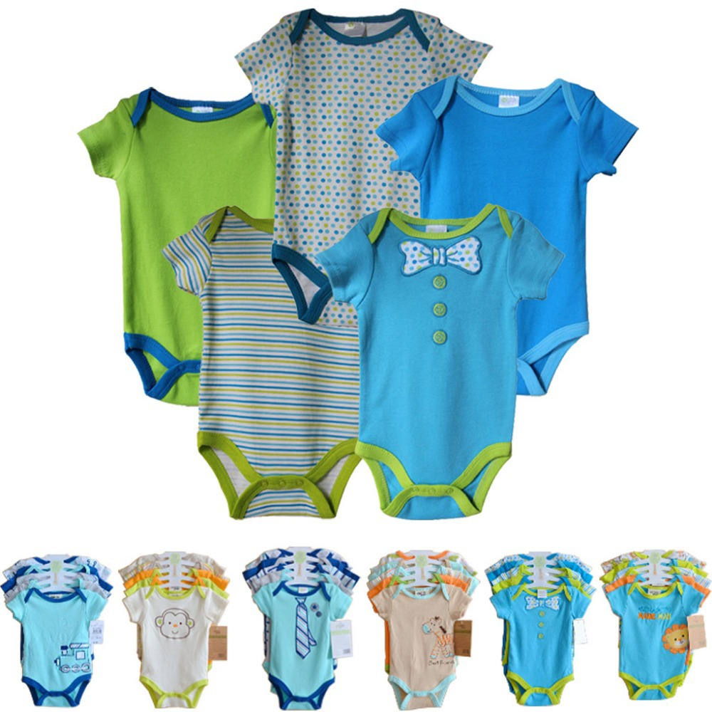5pcs/ lot Baby Clothing Set Hanging Footbal Short Sleeve Romper Set,Baby boys Clothes Set 0-6 months(China (Mainland))