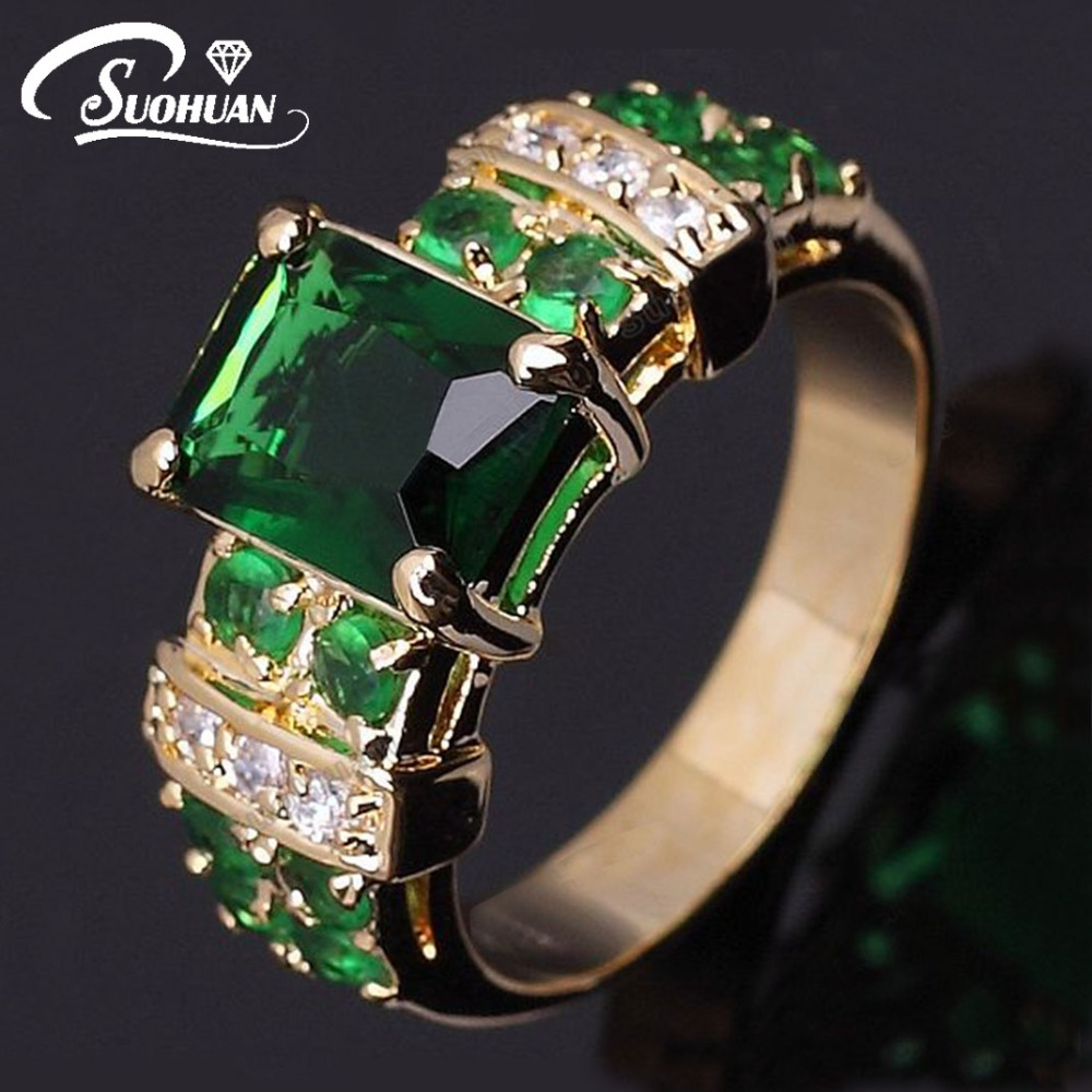 Wholesale women gold ring Female Green stone sapphire 18K Gold plated Jewelry vintage Emerald Ring Engagement Rings for women(China (Mainland))