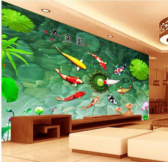 Customize wallpaper papel de parede China Wind nine fish Fig TV wall painting wall sticker 3d wallpaper Free shipping7076!(China (Mainland))