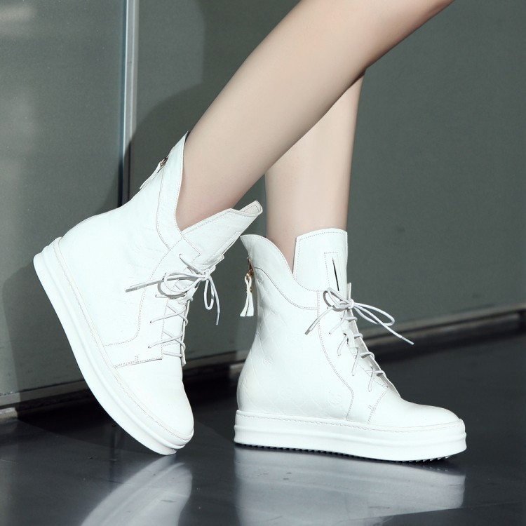 New Autumn Women Boots High Quality Solid Lace-up European Ladies Genuine leather Shoes Fashion Women ankle boots Platform shoes<br><br>Aliexpress