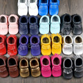 2015 New fringe 14 colors candy pink purple black white genuine cow leather new baby shoes