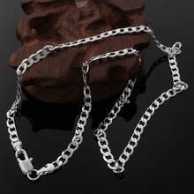 New Listing Hot sell men's silver plated 4MM Flat women cute men chain snake Necklace Fashion trends Jewelry Gifts