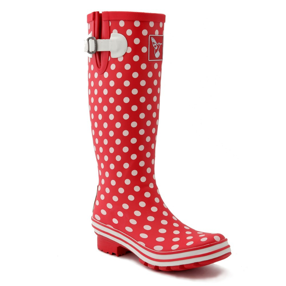 Evercreatures Ditsy Dots Wellies - Tall High Quality Red White Dots Rubber Rain Boots Wellies For Women(China (Mainland))