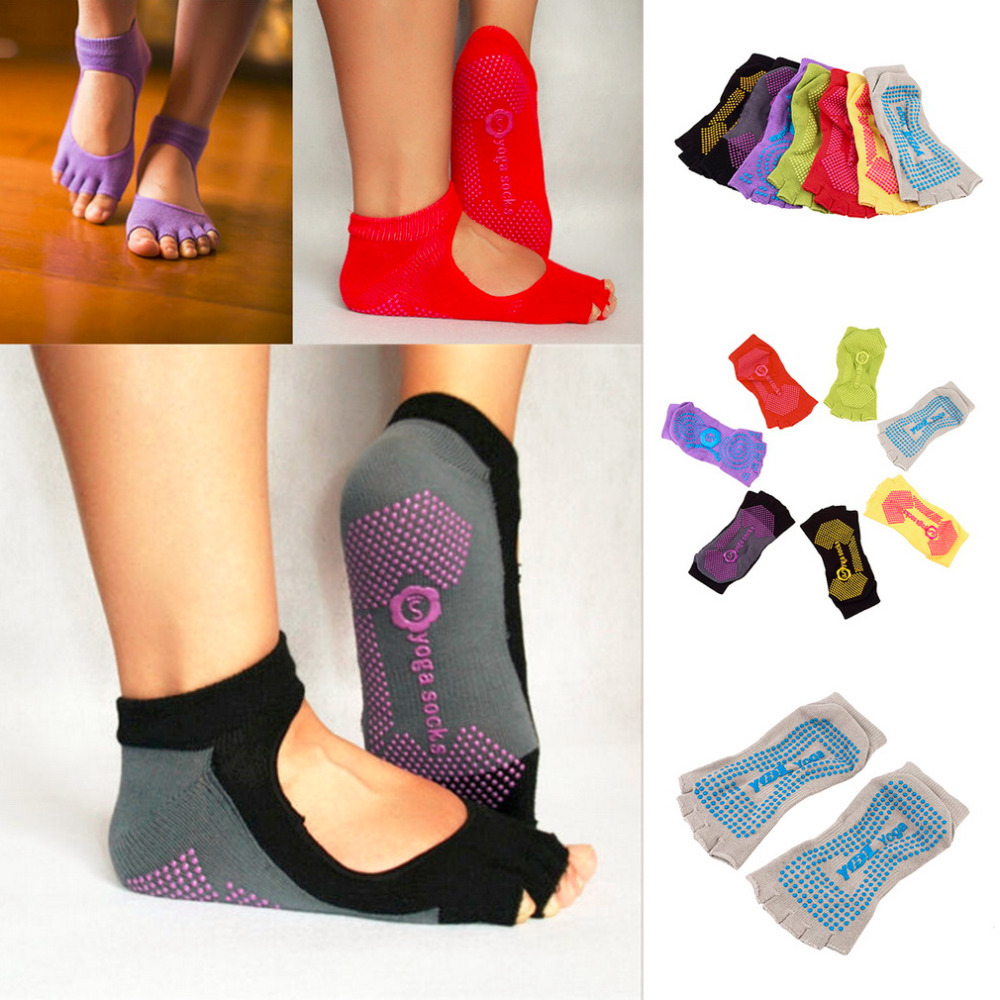 Women 5 toe Sport Pilates Yoga Sports Toe Socks NON-SLIP GRIP Durable Yoga Pilates Socks Half Toe Ankle Grip Five Finger No-Slip(China (Mainland))