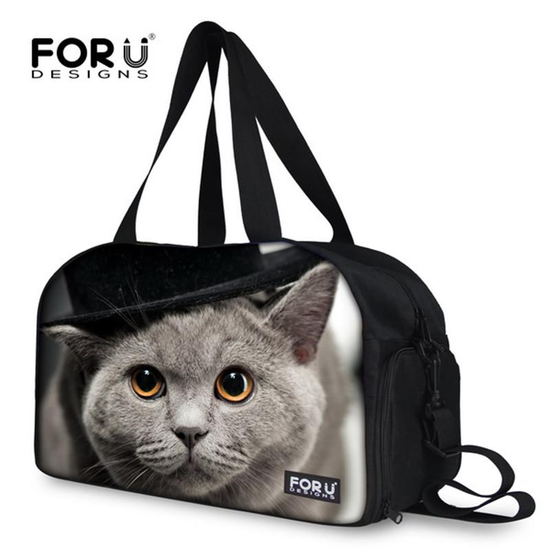 Hot Sale Cute Duffle Bags for Travel Fashion 3D Animal Cat Dog Women Travel Handbags Weekend Sports Large Bolsa Fitness Feminina(China (Mainland))