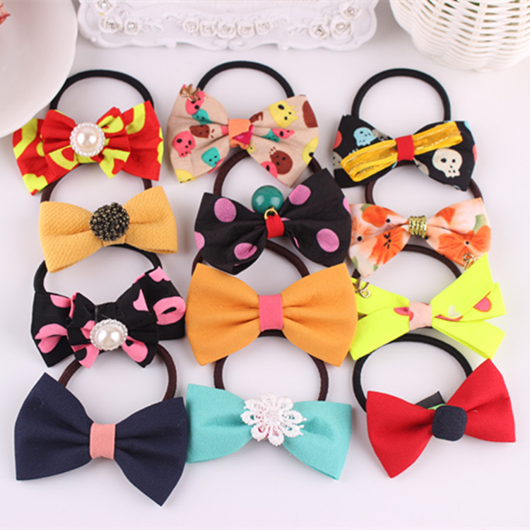 Headband New Arrival 5pcs/lot 2014 Direct Selling Girls Hairband Elastic Butterfly Hair Bands Chirldren Lovely Floral Rope(China (Mainland))