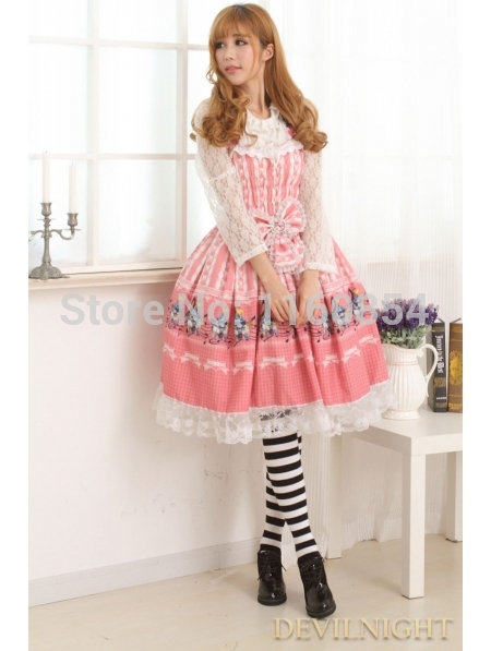Pink Sweet Printed Pattern Lace Bow Lolita Jumper  Одежда и ак�е��уары<br><br><br>Aliexpress