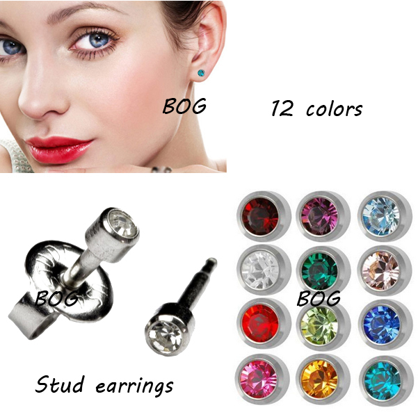 12Pairs Gift Packing -Studex Surgical Steel 3mm ,4mm Ear Piercing Earrings studs 12 pair Mixed Colors Gold,Silver<br><br>Aliexpress