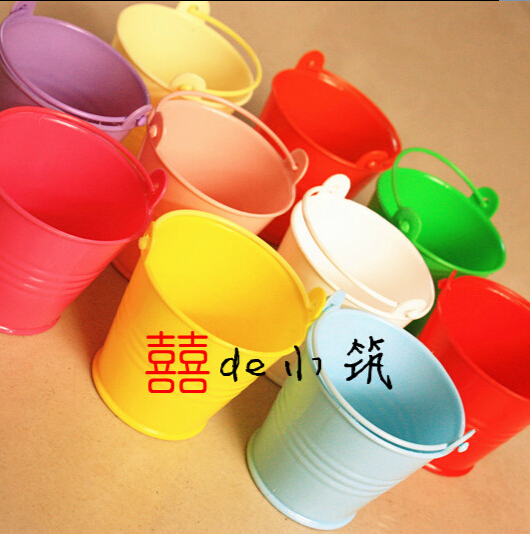 Free shipping 50pcs/lot Wedding Favor box Colorful beach pail which made of PP plastic used as candy packing(China (Mainland))