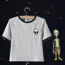 Short Sleeve Alien T Shirts Kawaii Clothes Crop Top Tee Shirt Femme Poleras De Mujer Cropped Tops For Women Alien Tshirt Cute(China (Mainland))