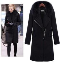 2015 Star Style autumn wool coat fur collar woolen jacket thick outwear plus size black winter jacket slim long overcoat XXXL(China (Mainland))