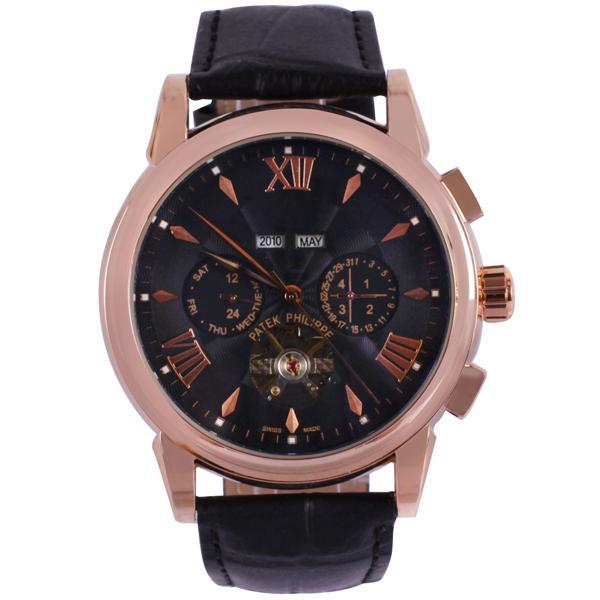 Luxury Round Dial Genuine Leather with Date Display Mechanical Watch for Men Business Dress Watch(China (Mainland))