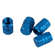 New 4pcs/pack Theftproof Aluminum Car Wheel Tire Valves Tyre Stem Air Caps Airtight Cover blue color hot selling#(China (Mainland))