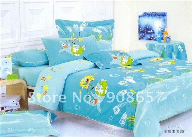 100% Cotton SpongeBob SquarePants blue cartoon pattern Queen children's bedding sets duvet covers 4 pcs with sheets home textile
