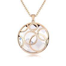 Women Round Pendant Necklace Wholesale Vintage Long Sweater Chain Necklace Gold Plated Charm Jewelry 7472