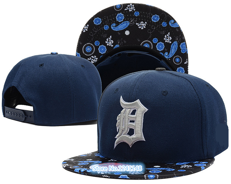 High quality 2015 Men's black sport team hat leather visor Detroit Tigers adjustable baseball snapback cap(China (Mainland))
