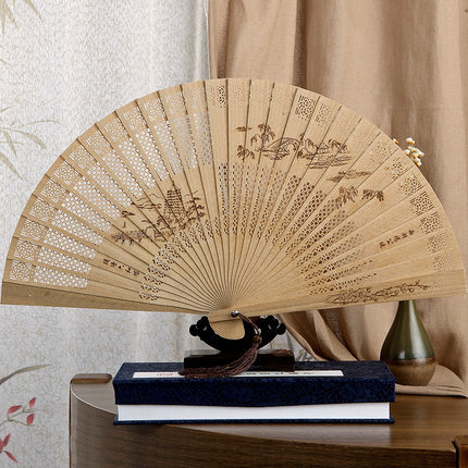 Hollow sandalwood fan fan lady's Chinese style gifts Burma sandalwwood fan fan ancient process #37(China (Mainland))