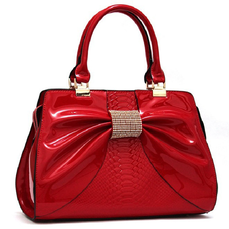 2015 High-quality HandbagThe  Portable Womens S Patent Leather Bow
