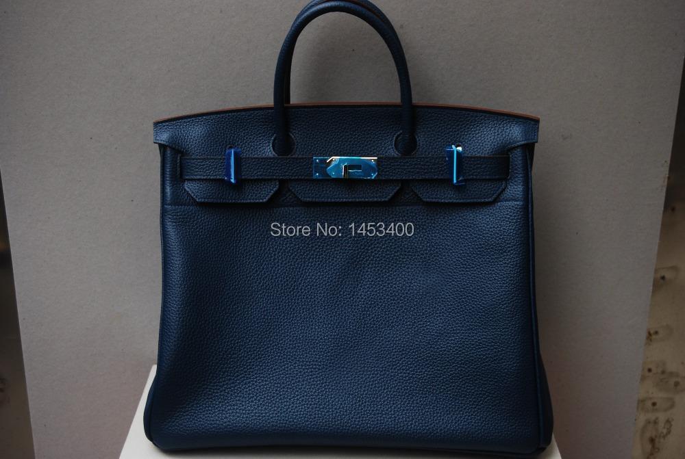bolsas femininas 2014100% hand sewn Genuine leather bags dark blue handbag togo 45 - HERCULES high-end handmade custom shop store