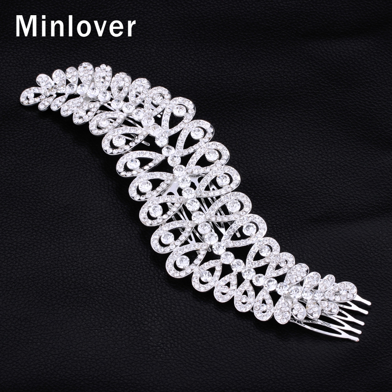 Minlover New 2015 Large Crystal Imitation Gemstone Bridal Hair Combs Hairpin Wedding Hair Accessories Hair Jewelry FS043(China (Mainland))