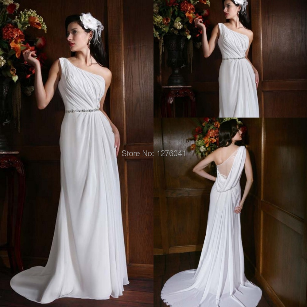 New arrival cheap simple wedding dress beaded at waist one for Cheap simple plus size wedding dresses