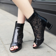 New Sale Womens Open Toe Mesh Thick Heels Ankle Boots Summer Fashion Sandals Cool Boots For Women High Heels Shoes Zapatos Mujer