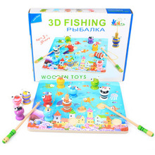3D Children Fishing Game & Wooden Ocean Jigsaw Puzzle Board Magnetic Rod Toy Outdoor Fun Toy Gift For Kid(China (Mainland))