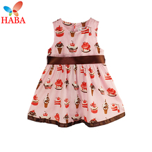 HABA Fashion powder cake ice cream belt section print baby dress 0-36 years/pink cute soft Baby Climbing clothes HB0280(China (Mainland))