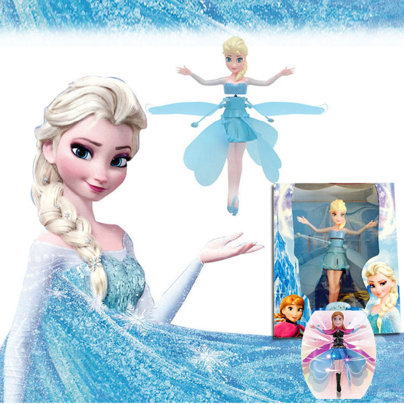Fever Cheap Plastic Boneca Princess Flying Fairy Elsa Anna angle Million Infrared Induction Doll For Brinquedos christmas gift(China (Mainland))