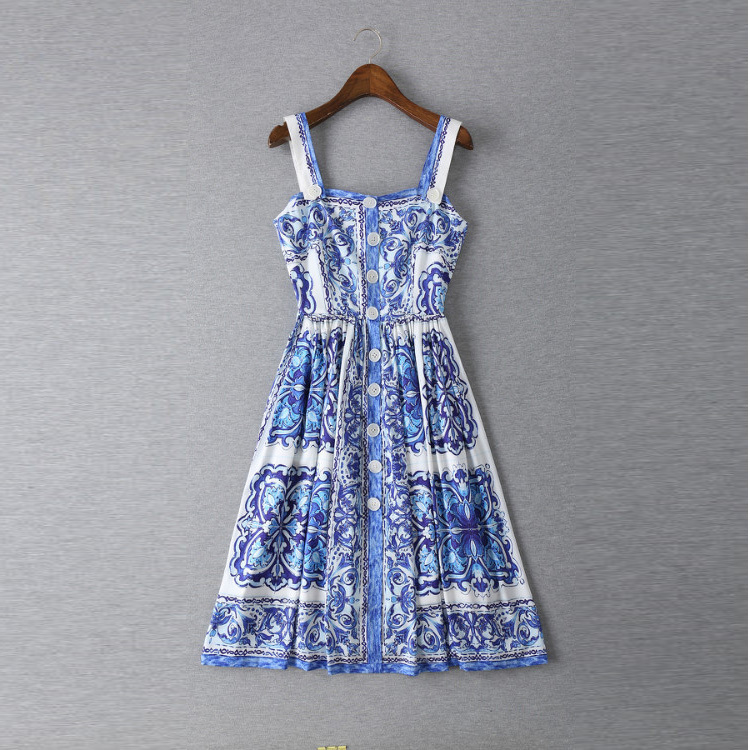 new 2015 summer vintage fashion brand blue white