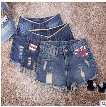 25/34 Womens Summer Printing Hole Denim Shorts Casual Loose Jeans Shorts Pantalon Femme Fashion Skinny Short Female Short J1325(China (Mainland))