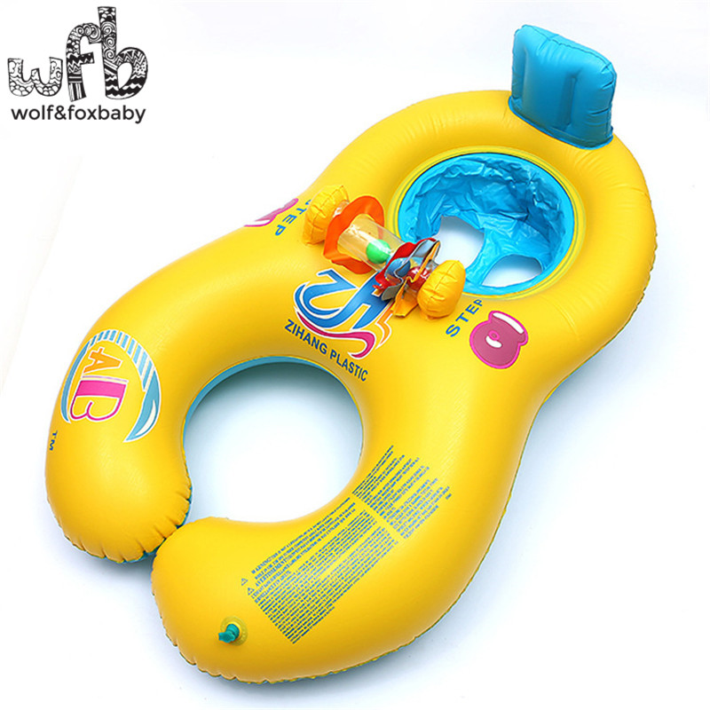 0-18 months Baby+Adult Swim Ring Safety Lifebuoy Inflatable Boat Floats Pool Summer(China (Mainland))