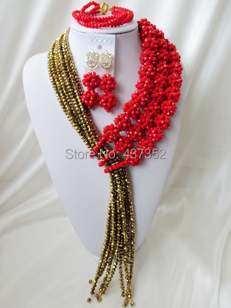 Charming 2015 New Opaque Red Gold Plated Crystal Ball Costume Necklaces Nigerian Wedding African Beads Jewelry Set NC1044<br><br>Aliexpress