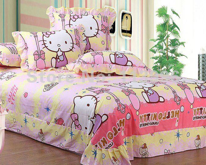 Hello Kitty Children S Bedding Set Twin Or Queen Bed Girls Kid Floral  Active Printing Sets