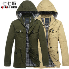 Military coat trench tooling jacket outerwear male casual  winter coat(China (Mainland))
