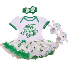 Happy St Patrick's Day Green Newborn Baby Girl Lace Bodysuit Dress Crib Shoes Headband Toddler Tutu Sets Bebe Girls Clothes - CHICCHERRY Store store