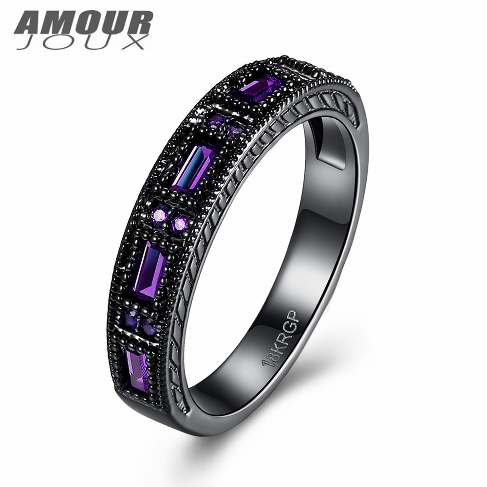 polish engagement rings price low cost wedding rings AMOURJOUX Trendy Gypsy Setting Clear Zircon Round Black Gun Plated Band Rings For Women Female Wedding
