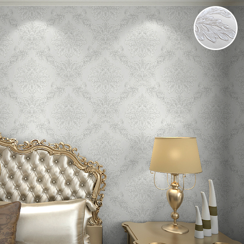 Home fashion lace pattern royal cottage floral grande for Black white damask wallpaper mural