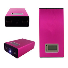 free shipping 12000Mah dual usb ports External Battery Portable Power Bank for all kinds mobile phones