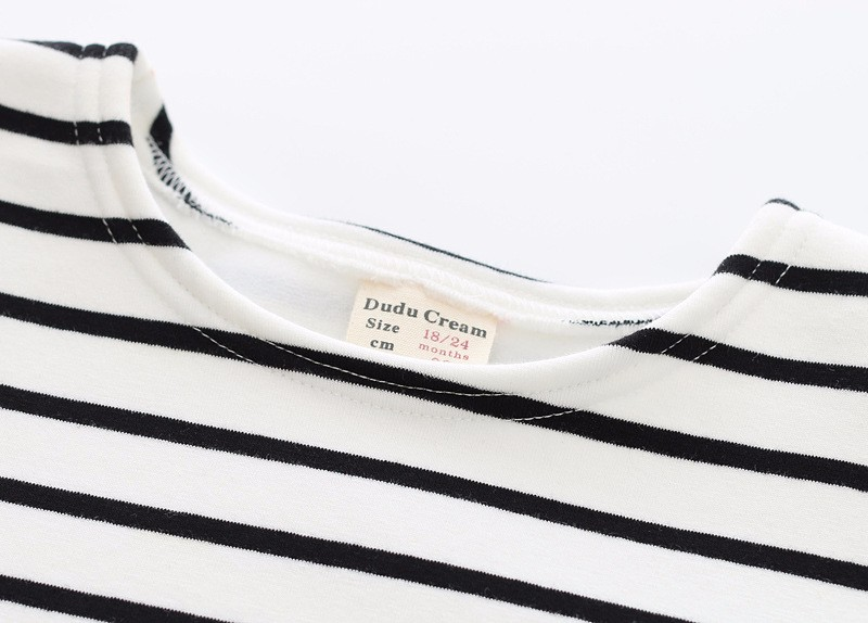 Autumn Winter Baby Girls Long Striped Dress Shirt Suit Mother Daughter Kids Striped Dress Wtih Velvet Black White Newborn 9M-3T (12)